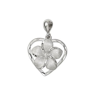 14Kt White Gold Hawaiian 15mm Plumeria Heart Pendant