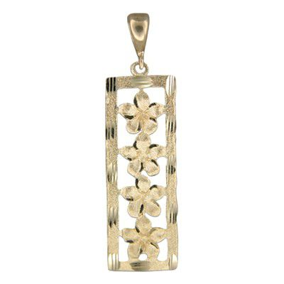 14kt Yellow Gold Four Hawaiian Plumeria Vertical Pendant