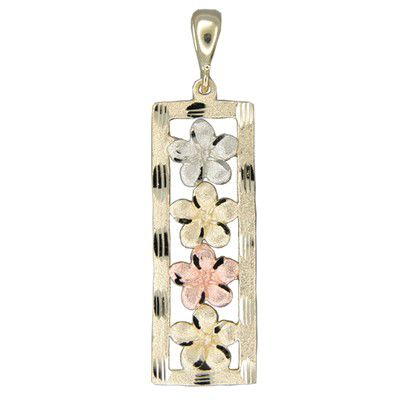 14kt Solid Tri-Color Gold 4 Hawaiian Plumeria Vertical Pendant