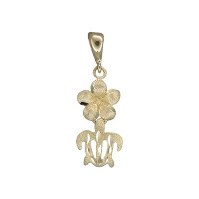 14kt Yellow Gold 10mm Hawaiian Plumeria and HONU Pendant