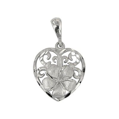 14Kt White Gold Hawaiian 12mm Plumeria Heart Pendant