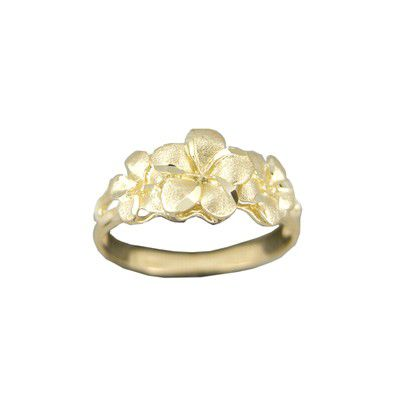14kt Yellow Gold Triple Hawaiian Plumeria Flowers Ring (M)