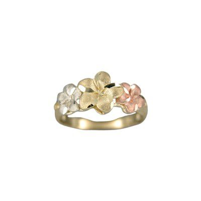 14kt Tri-Color Gold Triple Hawaiian Plumeria Flowers Ring (M)