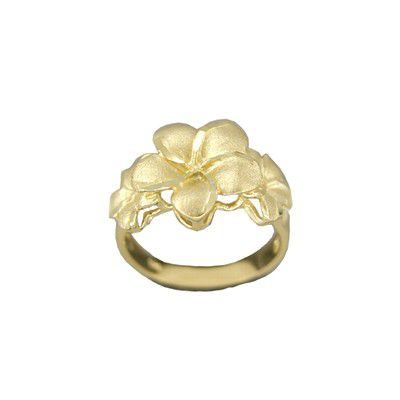 14kt Yellow Gold Triple Hawaiian Plumeria Flowers Ring (L)
