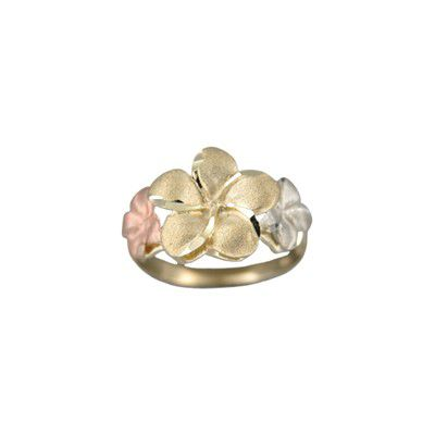 14kt Tri-Color Gold Triple Hawaiian Plumeria Flowers Ring (L)
