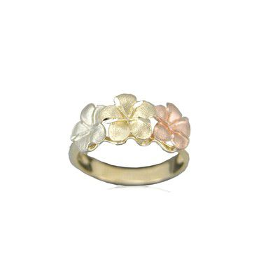 14kt Tri-Color Gold Triple 8mm Hawaiian Plumeria Flowers Ring