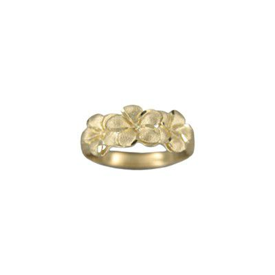 14kt Yellow Gold Triple 6mm Hawaiian Plumeria Flowers Ring