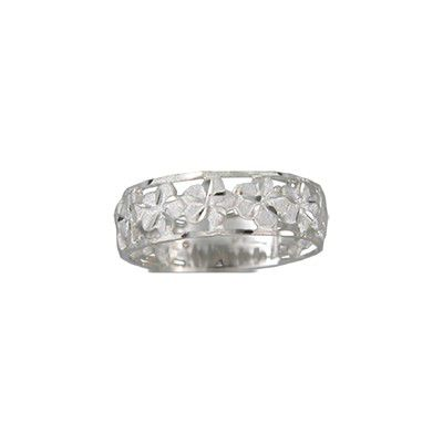 14kt White Gold 4mm Cut-In Hawaiian Plumeria with 6mm Ring Band