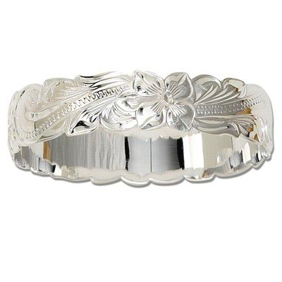 Sterling Silver 15mm Hawaiian Cut-out Bangle