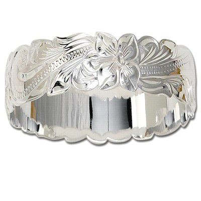 Sterling Silver 28mm Hawaiian Cut-out Bangle