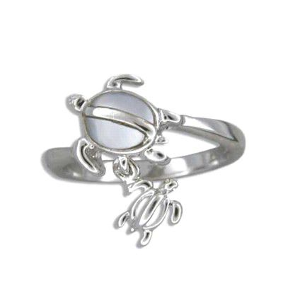 Sterling Silver Hawaiian Mother and Baby Honu White MOP Ring