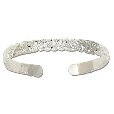 Sterling Silver 6mm Hawaiian Cut-out Cuff Bangle