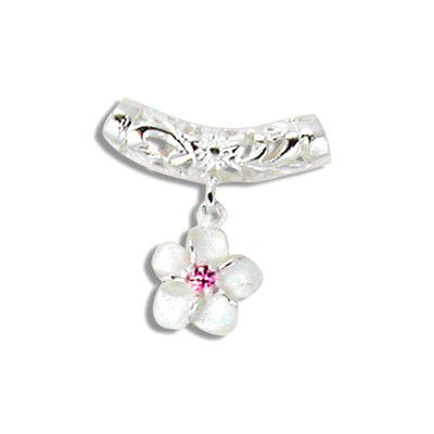 Sterling Silver 6mm Barrel Slide with Pink Ice Flower