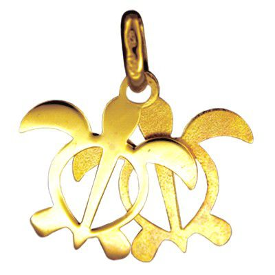 14kt Yellow Gold Double Hawaiian HONU Pendant