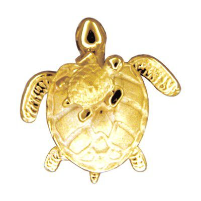 14kt Yellow Gold Mother and Baby Hawaiian HONU Slide Pendant