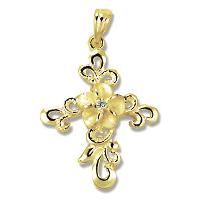 14kt Yellow Gold Hawaiian Scroll Design Plumeria CZ Cross Pendant