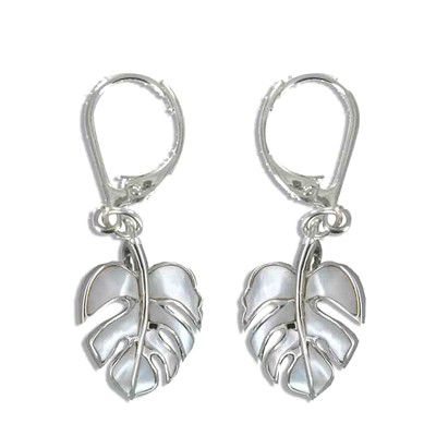 Sterling Silver Hawaiian Monstera Leaf White MOP Lever Earrings