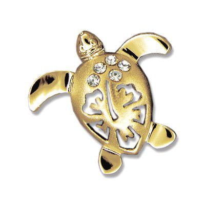14kt Yellow Gold Hawaiian Hibiscus Honu Pendant (S)