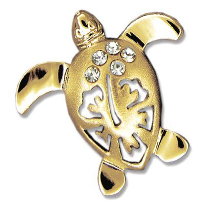 14kt Yellow Gold Hawaiian Hibiscus Honu Pendant (L)