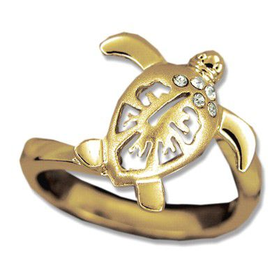 14kt Yellow Gold Hawaiian Hibiscus Honu Ring