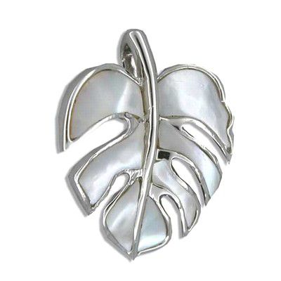 Sterling Silver Hawaiian Monstera Leaf White MOP Pendant