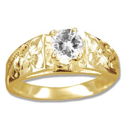 14kt Yellow Gold Hawaiian CZ Solitaire Engagement Ring