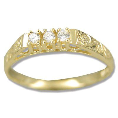 14kt Yellow Gold Hawaiian Hand Carved with Three CZ Ring