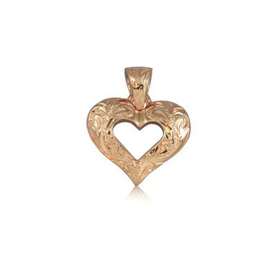 Fine Engraved Sterling Silver Rose Gold Plated Hawaiian Plumeria and Heart Pendant