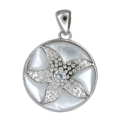 Sterling Silver Hawaiian Sand Dollar White MOP Pendant
