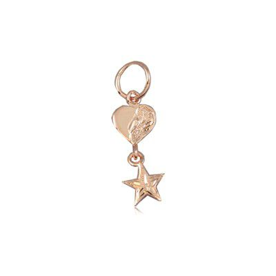 Fine Engraved Sterling Silver Rose Gold Plated Hawaiian Star and Heart Pendant