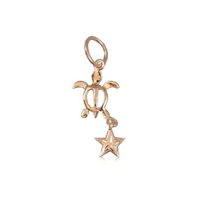 Fine Engraved Sterling Silver Rose Gold Plated Hawaiian HONU and Star Pendant