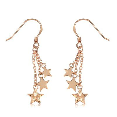 Fine Engraved Sterling Silver Rose Gold Plated Triple Hawaiian Star Dangling Earrings