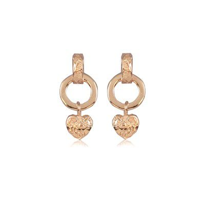 Fine Engraved Sterling Silver Rose Gold Plated Hawaiian Heart with Cut-Out Circle Pierced Earrings