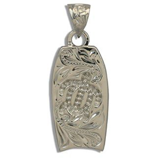 Fine Engraved Sterling Silver Cut-In Hawaiian HONU with Bodyboard Shaped Pendant