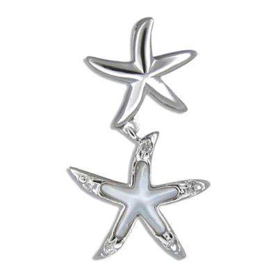Sterling Silver Starfish Floating White MOP Pendant