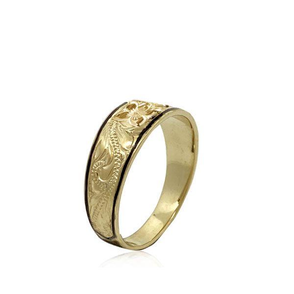 14KT Gold Hawaiian Plumeria  Scroll Black Border Tapered Ring