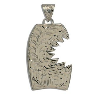 Fine Engraved Sterling Silver SHARK BITE with Bodyboard Shaped Pendant (L)