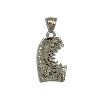 Fine Engraved Sterling Silver SHARK BITE with Bodyboard Shaped Pendant (S)