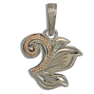 Fine Engraved Sterling Silver Rose Gold Coated Hawaiian Scroll and Leaf Pendant