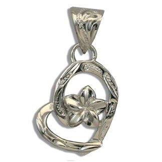 Fine Engraved Sterling Silver Hawaiian Plumeria with Heart Shaped Pendant