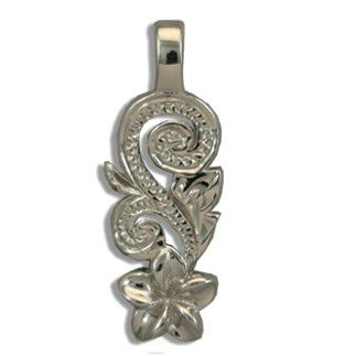 Fine Engraved Sterling Silver Hawaiian Plumeria and Scroll Pendant