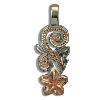 Fine Engraved Sterling Silver Rose Gold Coated Hawaiian Plumeria and Scroll Pendant