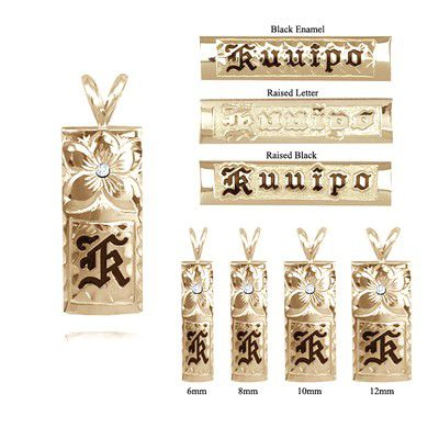 手彫りダイヤモンドプルメリアと14Kイエローゴールドシングルイニシャルハワイアンペンダント