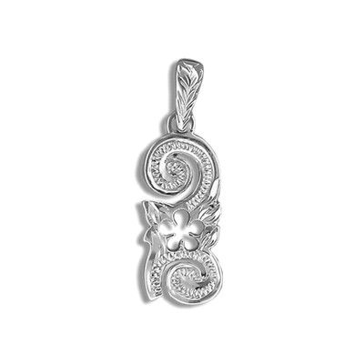 Fine Engraved Sterling Silver Cut-In Hawaiian Plumeria and Scroll Pendant