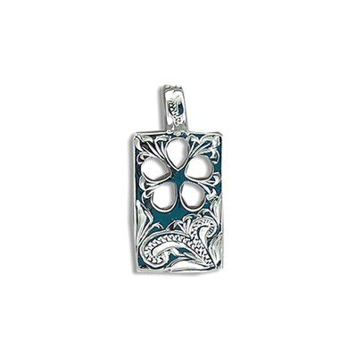 Fine Engraved Sterling Silver Cut-In Hawaiian Plumeria with Rectangle Shaped Pendant