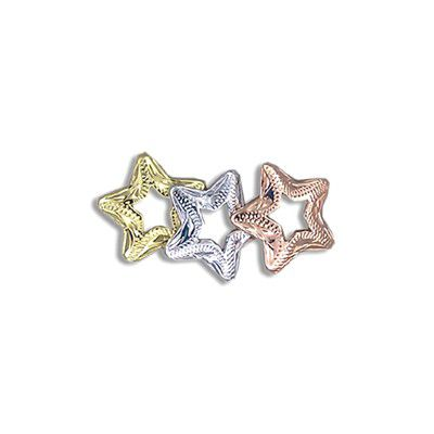 Sterling Silver Tri-color Open Stars Pendant