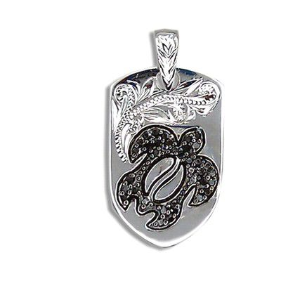 Fine Engraved Sterling Silver Ladies Black CZ Hawaiian HONU with Shield Shaped Pendant