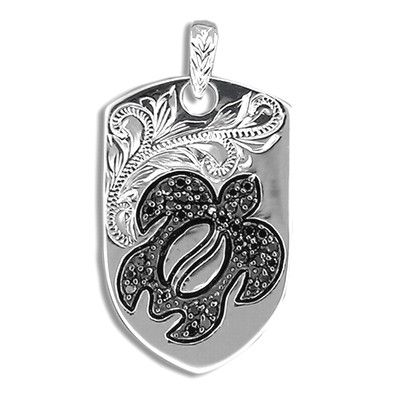 Fine Engraved Sterling Silver Men's Black CZ Hawaiian HONU with Shield Shaped Pendant
