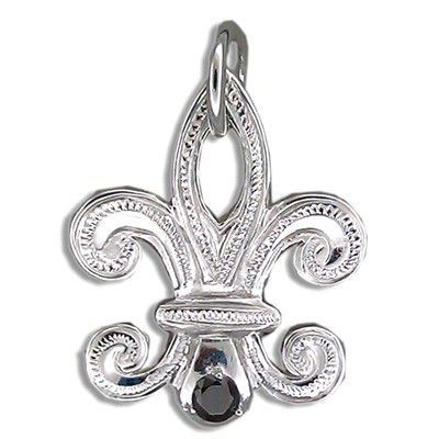 Fine Engraved Sterling Silver Men's Hawaiian FLEUR DE LIS Shaped with Black CZ Pendant