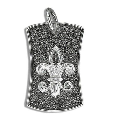 Fine Engraved Sterling Silver Men's Hawaiian FLEUR DE LIS with Black Rhodium Shield Pendant